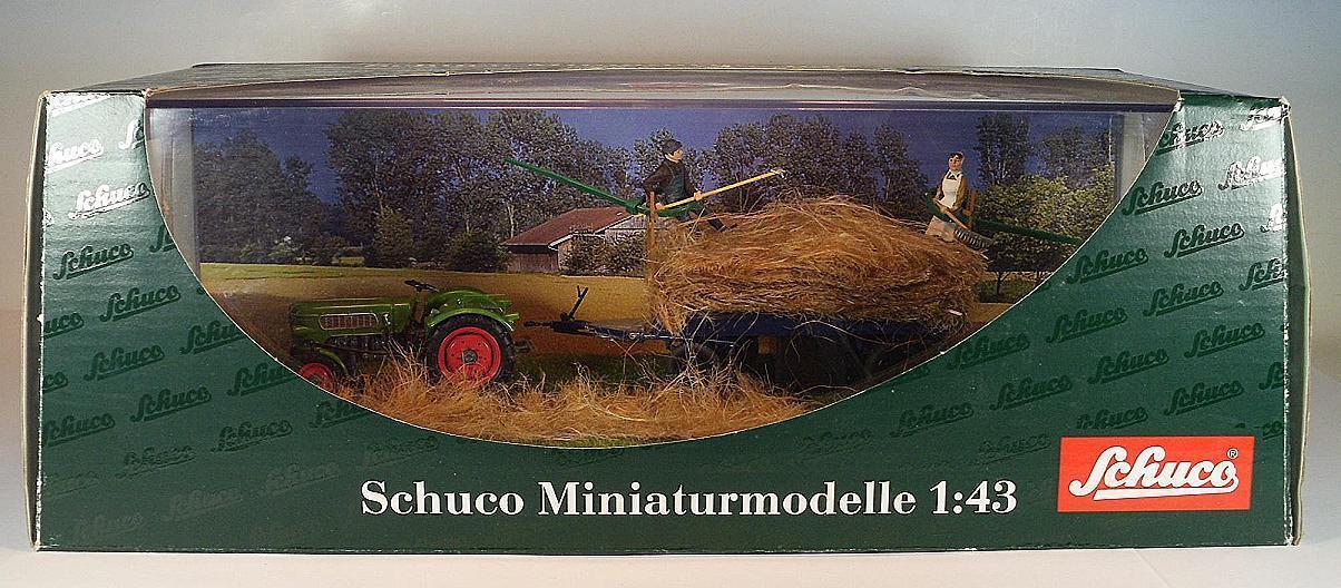 SCHUCO 1 43 DIORAMA  FENDT FARMER II tracteur avec remorque et personnages neuf dans sa boîte  248  100% neuf avec qualité d'origine