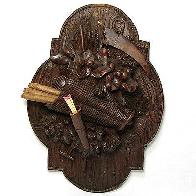 Antique Black Forest Carved Wood Wall Plaque, Pastoral Theme Cigar, Match Holder