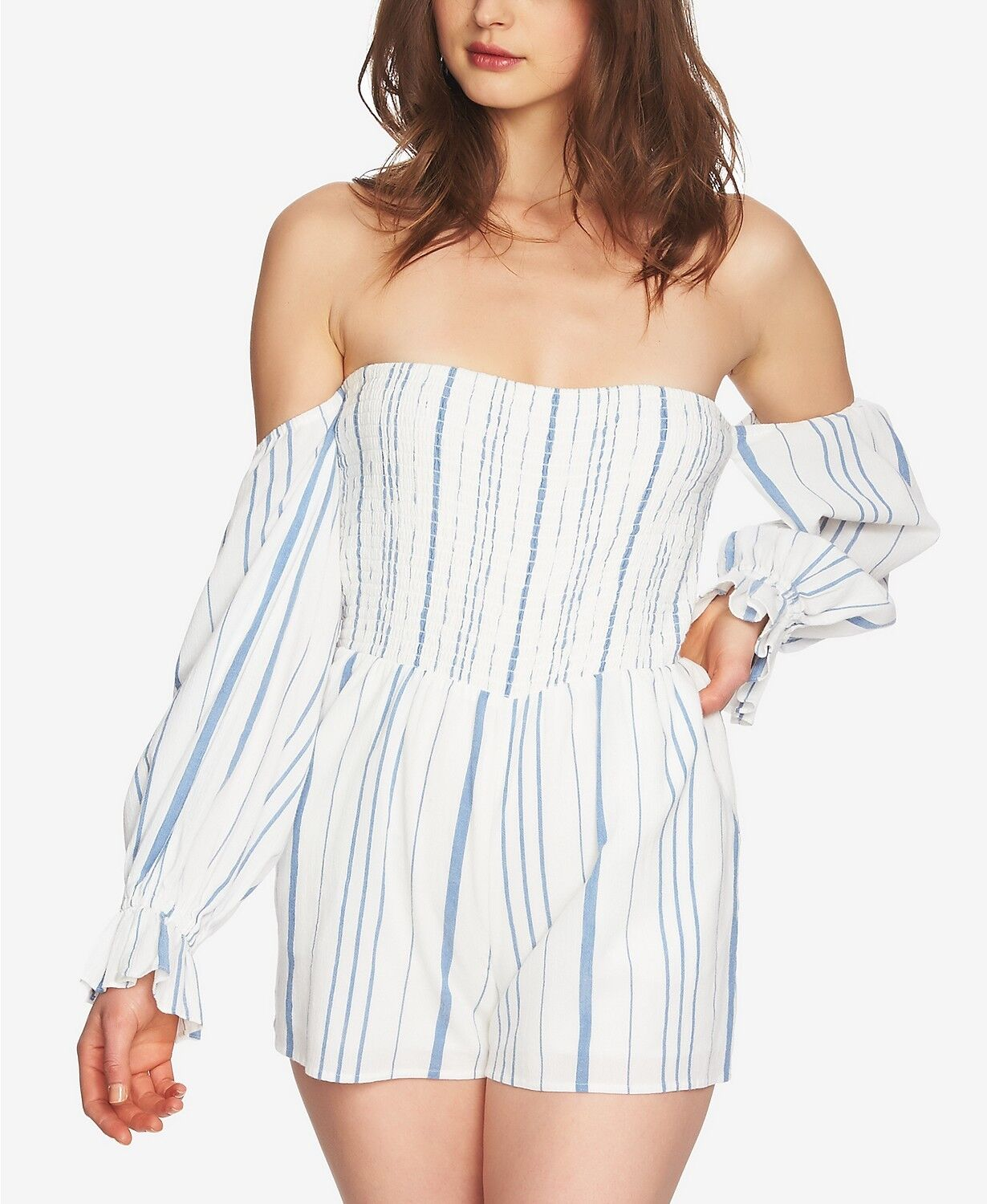320 1. STATE WOMEN'S WHITE blueE STRIPED OFF SHOULDER CASUAL SHORT ROMPER SIZE L