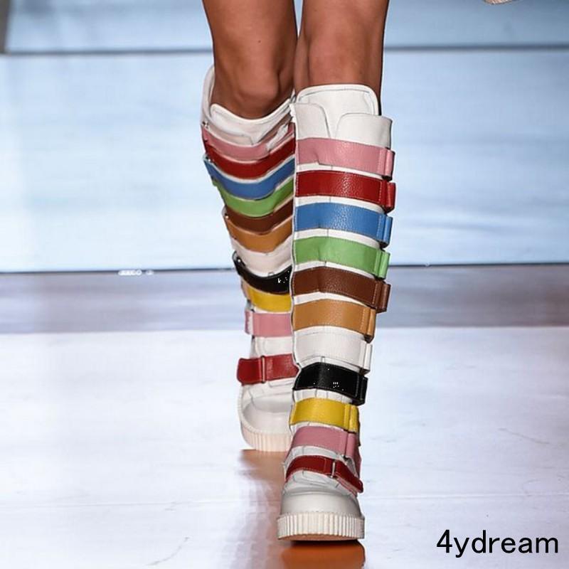 vendita all'ingrosso Donna  Preppy Multi Multi Multi Colore Buckle Flat Knee High stivali Punk scarpe Plus Dimensione  colorways incredibili