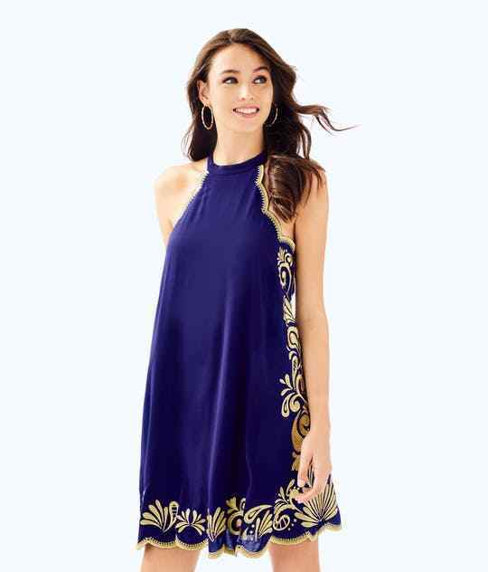 278 NEW Lilly Pulitzer QUINN DRESS True Navy Gypset Swirl Embroidered gold S M