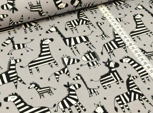 EUR 12,98//m baumwolljersey Jersey Tissu Zebra sur gris
