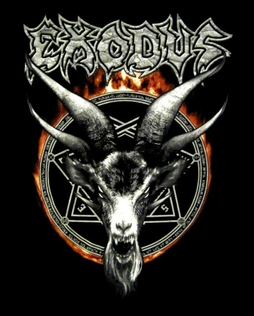 EXODUS cd lgo DEMON GOAT FLAMES Official 2015 TOUR SHIRT SMALL new