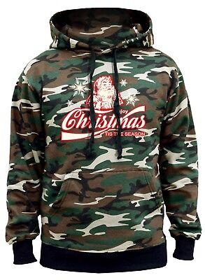 Men/'s Enjoy Christmas Santa Camo Hoodie Ugly Sweater Happy Holidays Santa Claus