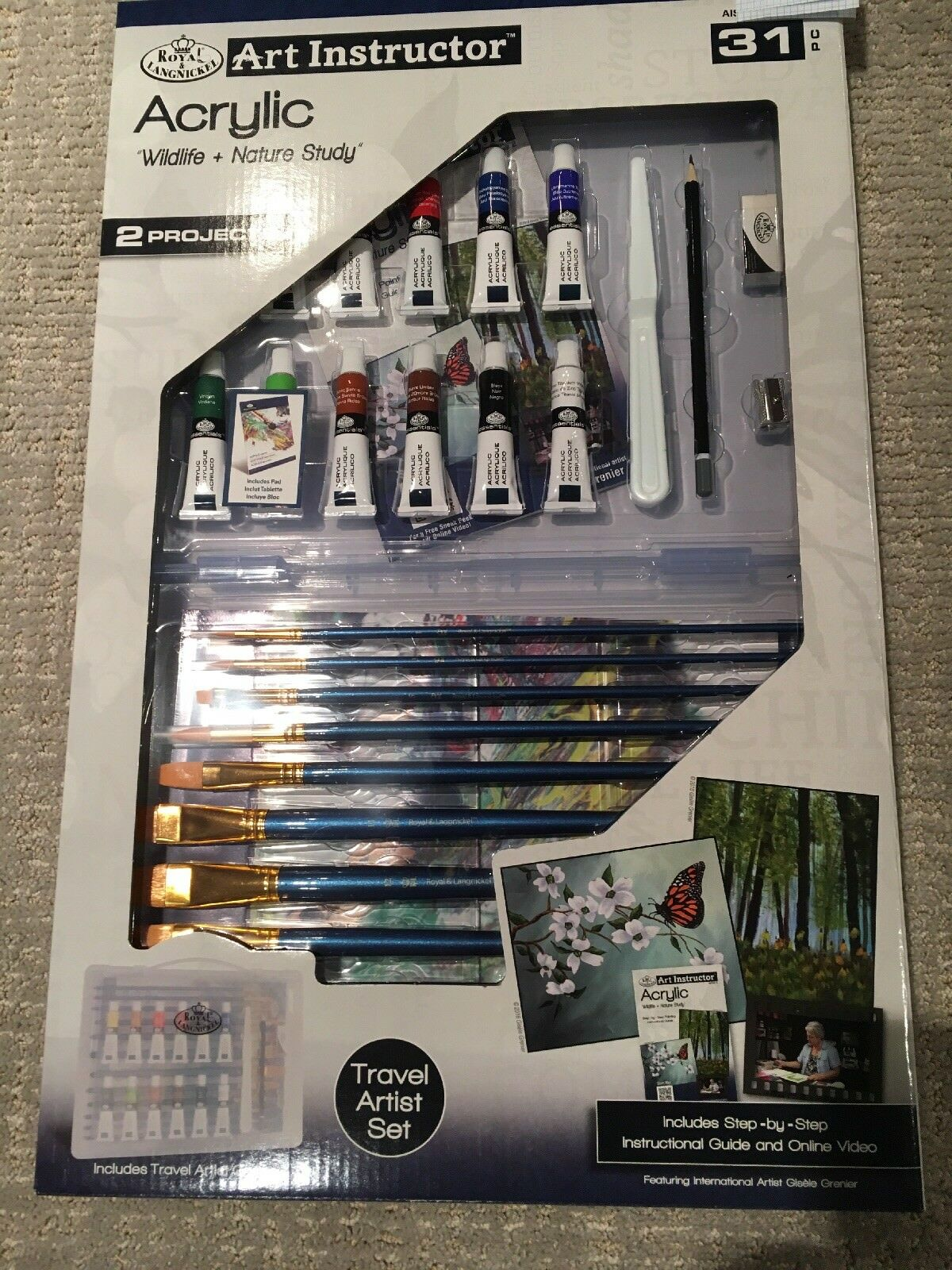 NEW  Acrylic Art Instructor Set Wildlife & Nature Study 31 Piece Paint Brushes