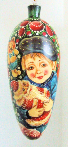 Exclusive Russian Christmas Ornament Hand Painted Tear Drop Shape a Boy w//Toys