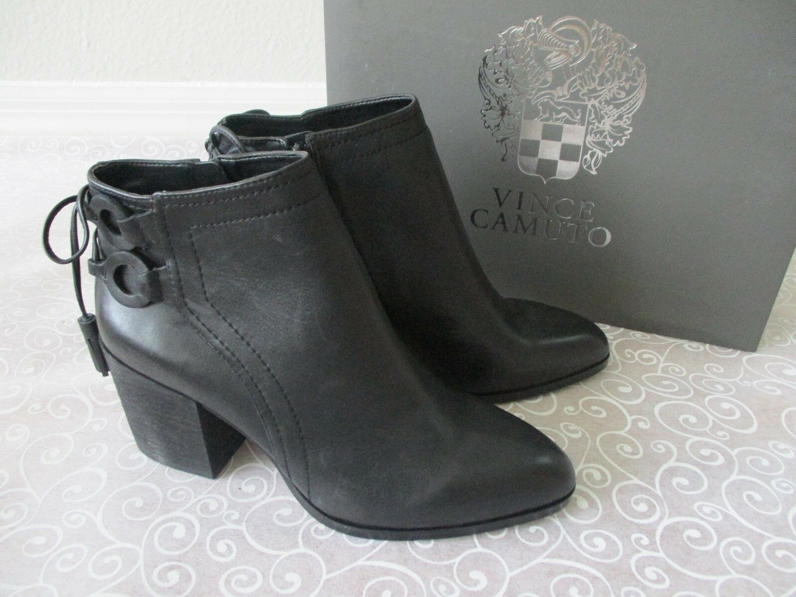 VINCE CAMUTO BLACK BLACK BLACK LEATHER ANKLE ZIP UP Stiefel SIZE 11 M - NEW c4e453