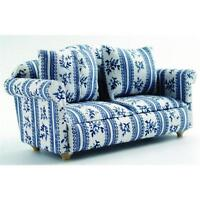 12th Scale Blue Patterned Sofa For Dolls Houses Df890