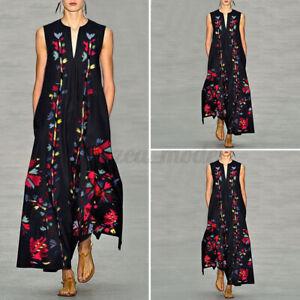 Mode-Femme-Robe-Maxi-Sans-Manche-Floral-Cocktail-Party-Dress-Loose-Casual-Plus
