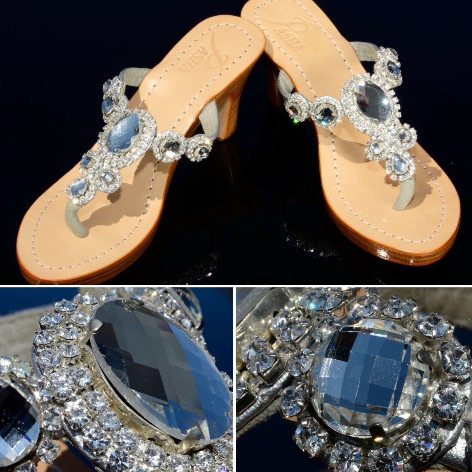 GORGEOUS JEWELED GENUINE LEATHER SHOES PASHA, STYLE Corinth Clear  SIlver