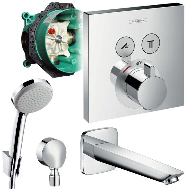 Hansgrohe Unterputz Wannen Set, Shower Select Thermostat, Logis Wanneneinlauf UP