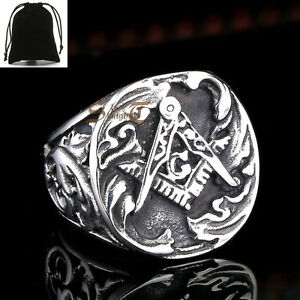 Details about Vintage Silver Men's 316L Stainless Steel Master Masonic Free  Mason Signet Ring