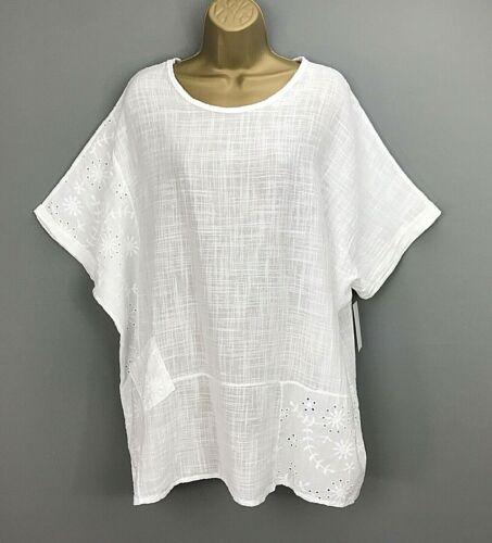 NEW Italian Tunic Top White Crinkle Lagenlook UK Plus Size 20 22 24 26
