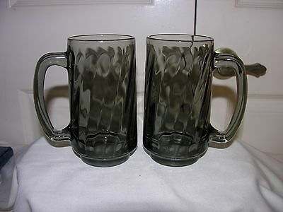 2 Glass Contemporary Libbey Smoke Gray Black Swirl Optic Cup Mug Serving Barware
