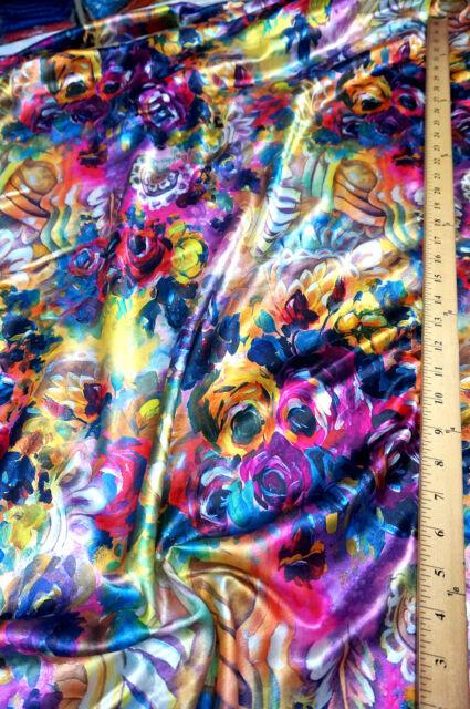 "ART PAINT FLORAL NANO PRINT FAUX SILK SATIN FABRIC 60""W DRAPE DRESS TABLECLOTH"