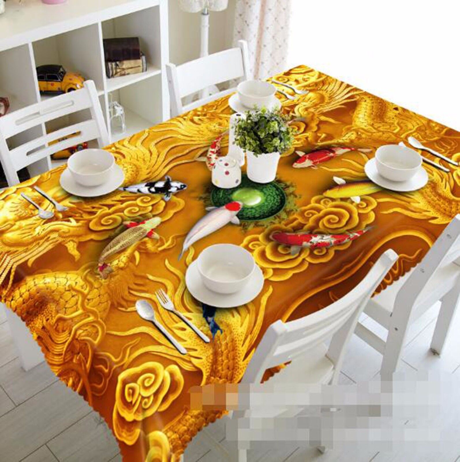 3D Carp 62 Nappe Table Cover Cloth fête d'anniversaire AJ papier peint Royaume-Uni Citron