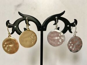 Gold-Silver-Disc-Circle-Round-Crystals-Hammered-Textured-Drop-Dangle-Earrings