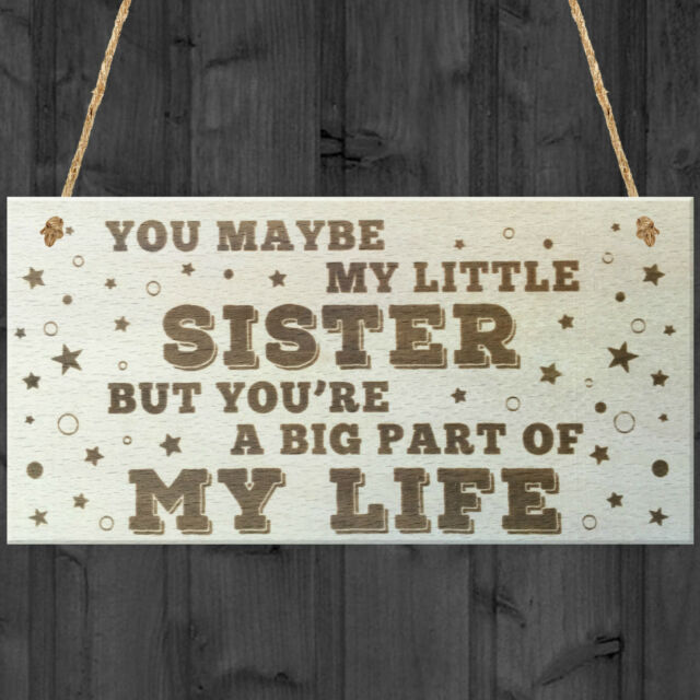 Little Sister Big Part Of My Life Wooden Hanging Plaque Love Gift Sign Sisters