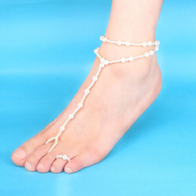 f462ed2998a Womens Beach Imitation Pearl Barefoot Sandal Foot Jewelry Anklet Chain for  sale online