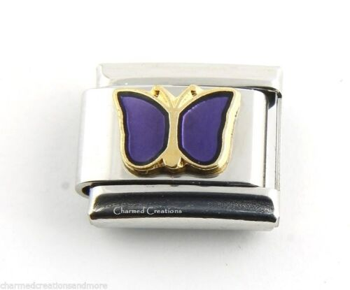 Gold Trim Purple Butterfly February Birthstone Birthday 9mm Italian Charm Link