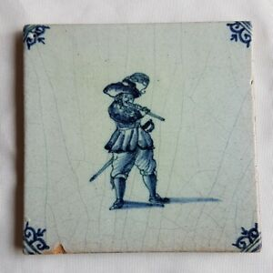 Antique-Delft-Wall-Tile-Minstrel-Musician-blue-white-delftware