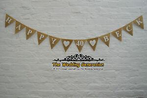 Hessian Bunting Burlap Banner Birthday Garland Custom Personalized Bespoke