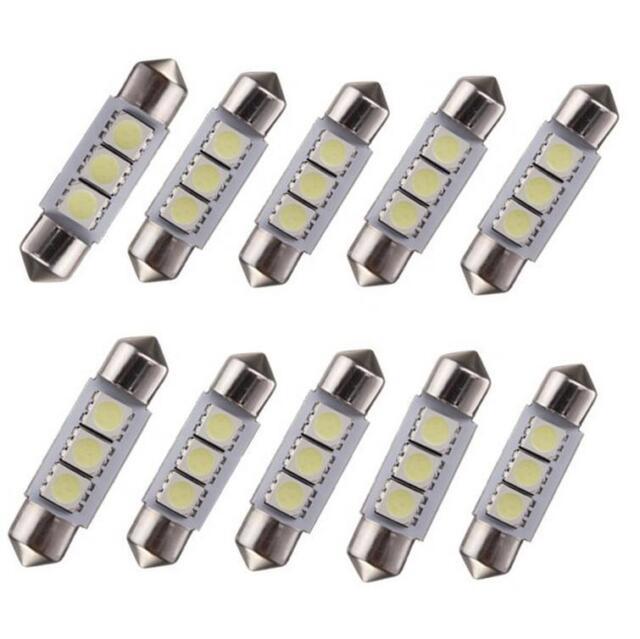 10Pcs White 36MM 3 LED 5050 SMD Festoon Dome Car Light Interior Lamp Bulb 12V QG