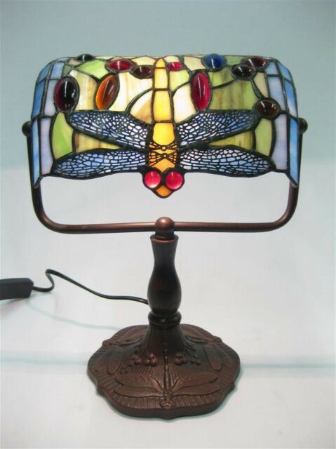 """TIFFANY STYLE TABLE LAMP 12.5"""" BANKERS DESK LIGHT DRAGONFLY SHADE FREE BULB NEW"""