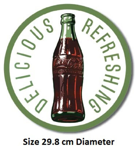 Coca Cola Delicious  Refreshing Round Metal Tin Sign 1071-Large Variety Of Signs
