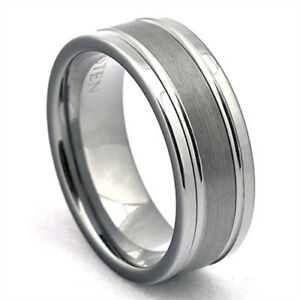 Image Is Loading Tungsten Ring With Grooves Mens Wedding Band Brushed
