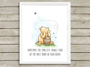Details about Classic Winnie the Pooh Nursery Wall Art Smallest Things  Print Decor Baby Gift
