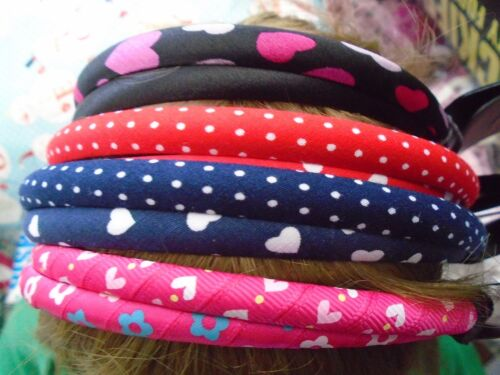Pack 2 coloured hair alice bands fabric 1cm headband floral hearts hairband band
