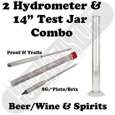 Proof & Beer 2x Hydrometer + Test Jar Combo Homebrew Wine Moonshine Distilling