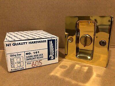 Newman Tonks Pocket Sliding Door Privacy Lock #101 605 POLISHED BRASS