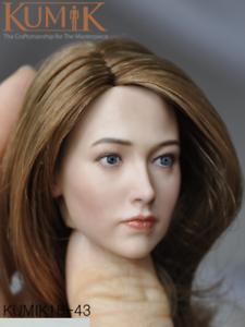 KUMIK KM18-43 Female Head Carving 1//6 Brown Hair Head Sculpt For 12/'/' Figure