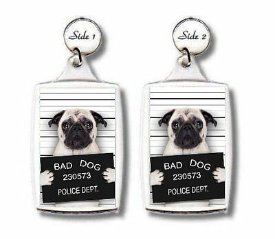 "ANIMAL PET LOVER PHOTO GIFT FAWN PUG /""BAD DOG/"" TROLLEY COIN TOKEN KEYRING"