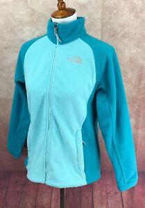 North-Face-Full-Zip-Fleece-Mock-Neck-Drawstring-Pockets-Blue-Jacket-Women-039-s-M
