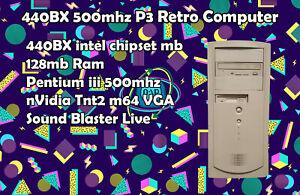 440BX Pentium 3 500Mhz Retro Computer Riva TNT 2 m64 Sound Blaster Live