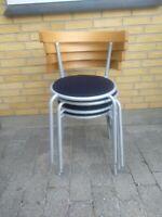 Spisebordsstol, 4 fine stabelspisebordstole i
