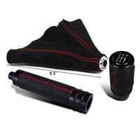 Manual Transmission Shift Knob+boot+emergency Hand Brake Handle 5/6 Speed Black on sale