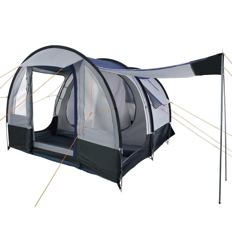 CampFeuer Personen Campingzelt 4 Personen CampFeuer Tunnelzelt Camping Zelt Familienzelt grau schw. 6de15e