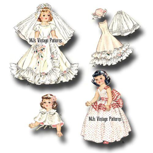 "Vtg 1950s Doll Clothes Pattern ~ 16/"" Toni 15/"" Miss Revlon Wedding Gown Dress"