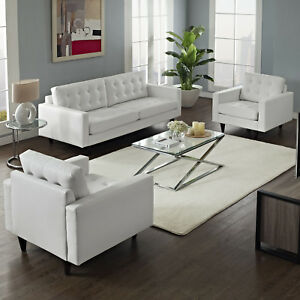 3pc Mid Century Modern Tufted Leather Sofa And 2 Armchairs Set In