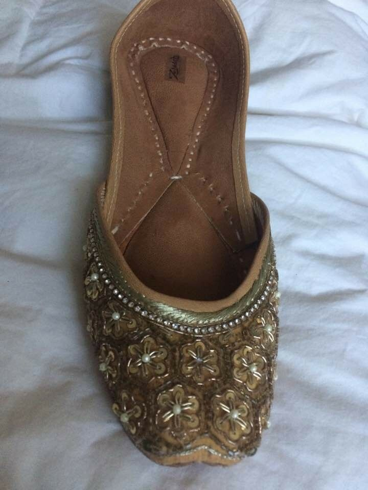 Womens hand made embellished shoes by zebibah size six gold sparkles