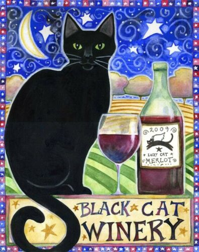 Art Cross Stitch Pattern Halloween Black Cat Winery
