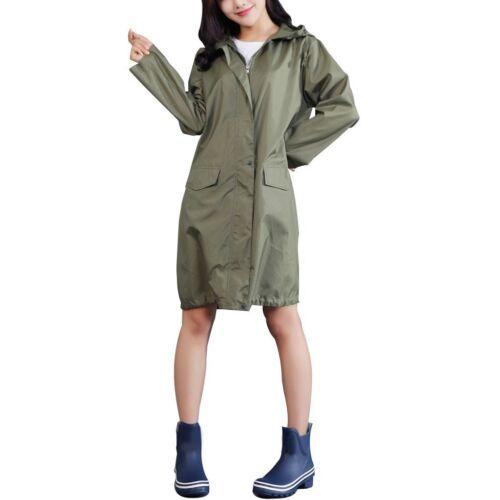 Waterproof Raincoat Women Hooded Long Rain Jacket Breathable Poncho Outdoor Wear