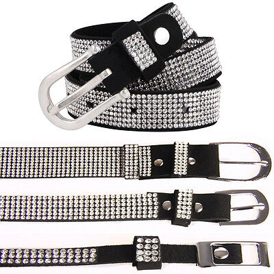 Womens Slim Thin Thick 3//6//10//15 Rows Diamante Embellished Waist Hip Buckle Belt