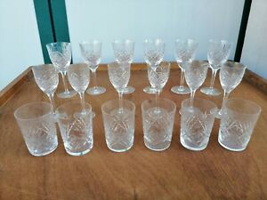 Service-For-6-Person-Glasses-Crystal-1950-Water-Wine-18-Piece-Engraved