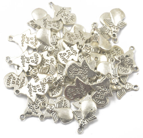 50 Silver Antique MADE FOR AN ANGEL Angel Charm Pendant Jewelry Making Craft