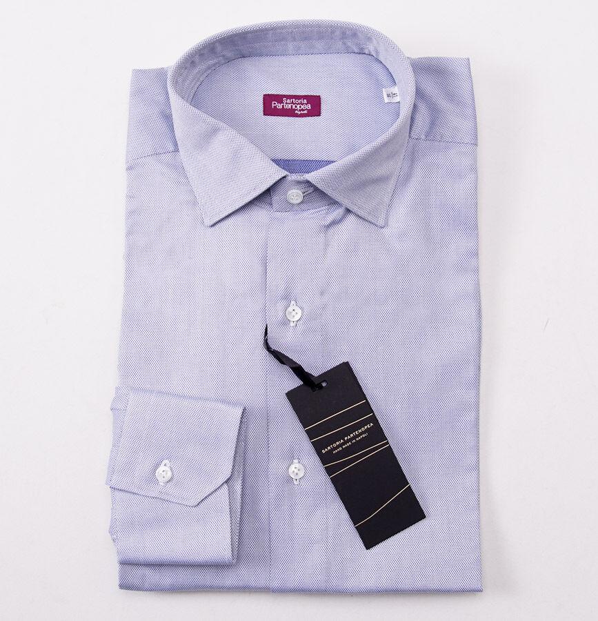 NWT 375 SARTORIA PARTENOPEA Sky Blau Jacquard Cotton Shirt 16 x 35 Classic-Fit